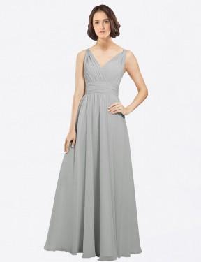 Shop Silver A-Line Long Liliana Bridesmaid Dress Canada