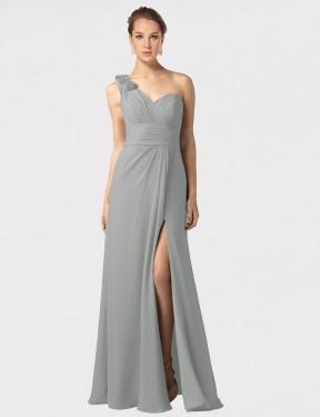Shop Silver A-Line Long Melina Bridesmaid Dress Canada