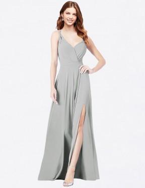 Shop Silver A-Line Long Ofelia Bridesmaid Dress Canada