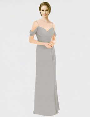 Shop Silver A-Line Long Tori Bridesmaid Dress Canada