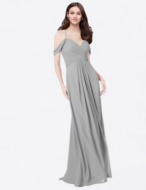 Shop Silver A-Line Long Ursula Bridesmaid Dress Canada