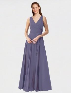 Shop Silver Stone A-Line Long Shalene Bridesmaid Dress Canada