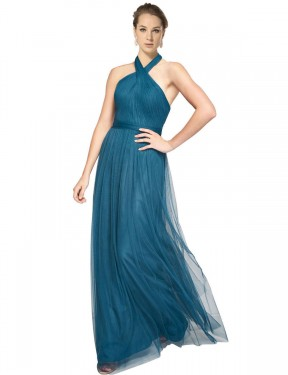 Shop Teal Green A-Line Long Madeline Bridesmaid Dress Canada