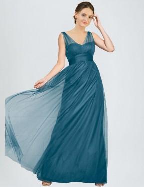 Shop Teal Green A-Line Long Reagan Bridesmaid Dress Canada