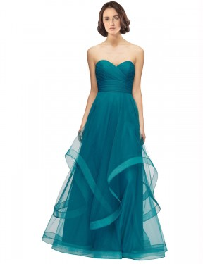 Shop Turquoise A-Line Long Lacey Bridesmaid Dress Canada