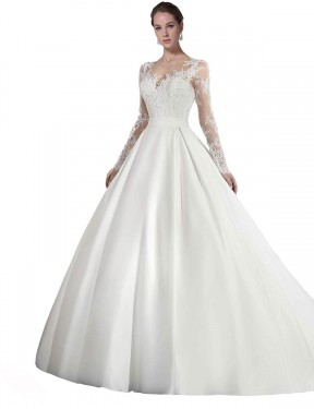 Shop White A-Line Long Stephanie Wedding Dress Canada